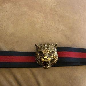Gucci Blue Elastic Belt With Feline Buckle